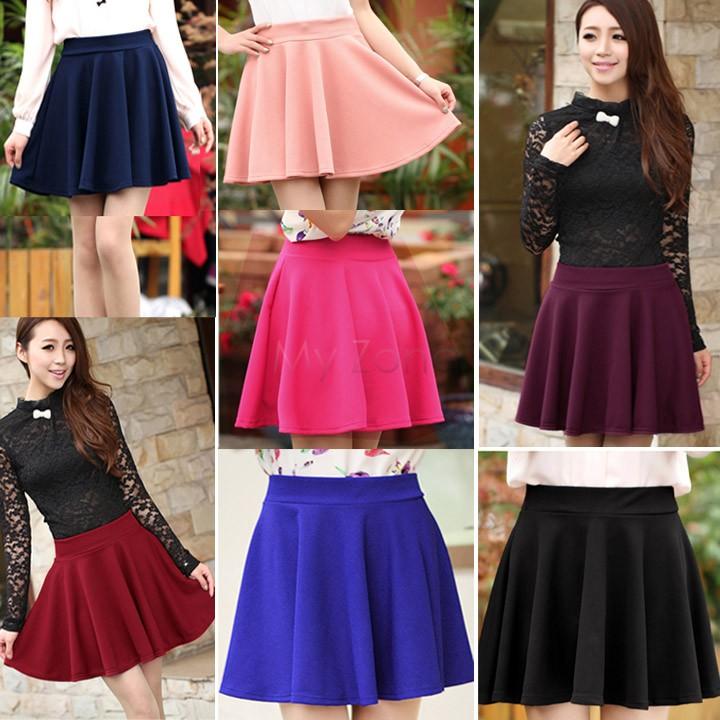 2014 Fashion Hot Sexy Women High Waist Plain Skater Flared Pleated Casual Cotton Mini Skirt #005 15411(China (Mainland))
