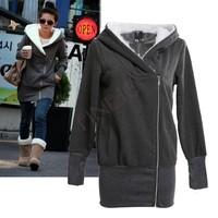 2014 Korea casual Women Hoodies Jacket Coat Warm Outerwear Hooded Sweatshirts Zip 5 Colors M L XL XXL Free shipping b6 3269