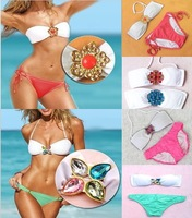 Women Bikini 2013 push up Swimwear Victoria Brand Free Shipping Sexy Good Quality Bling Diamond  Swimsuit gift !