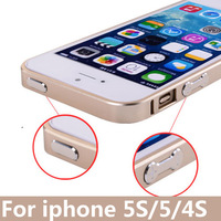 5S With Metal Button Ultra thin Luxury Aluminum Bumper Case Cover for Apple iPhone 5s 5G 5 Metal Frame +  Free screen protector