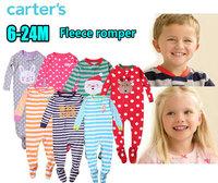 2014 winter original carters fleece rompers long sleeves Carters bodysuits baby jumpsuits micro fleece footed romper KR023