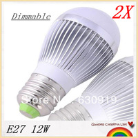 2 pcs/lot E27/E14  9W/12W/15W Dimmable Bubble Ball Bulb AC85-265V LED Light free shipping