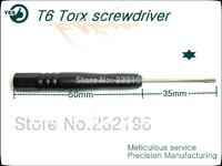 100pcs/lot black handle repair Opening tools t6 Torx screwdriver