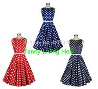 50s Vintage Retro Hepburn Style Polka Dot Swing Dress with Belt