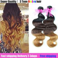 queen 2014 NEW super  7a grade virgin brazilian three tone ombre color 1B/4#/27# hair mix 3pcs or 4pcs  hot sale on aliexpress