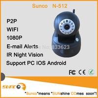 2014 New Freeshipping 1080P ONVIF Vandal Black Wireless IP Camera P2P Dual Audio IR Night Vision Monitor Baby Household