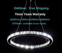 Free shipping Modern K9 LED crystal chandelier lights fixture with D400mm  for 10-15m2 space lighting 3 year warranty