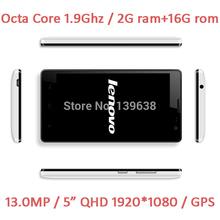 Original Android4.4 Lenovo Phone MTK6592 Octa Core 1.9G 2G RAM 16G ROM 5.0'' 1920x1080 13MP Dual SIM unlocked smart phone(China (Mainland))