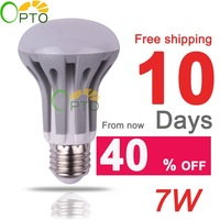 24 pcs/lot New year free shipping 220V 230V 240V Spotlight E27 7W LED Energy Saving bulb lamp light SMD2835 warm white/white R63