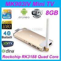 MK903IV RK3188 Quad core Android4.2 2G/8G WiFi Bluetooth HDMI USB TF Card Smart TV Stick Mini PC HD 1080P XBMC Media Player