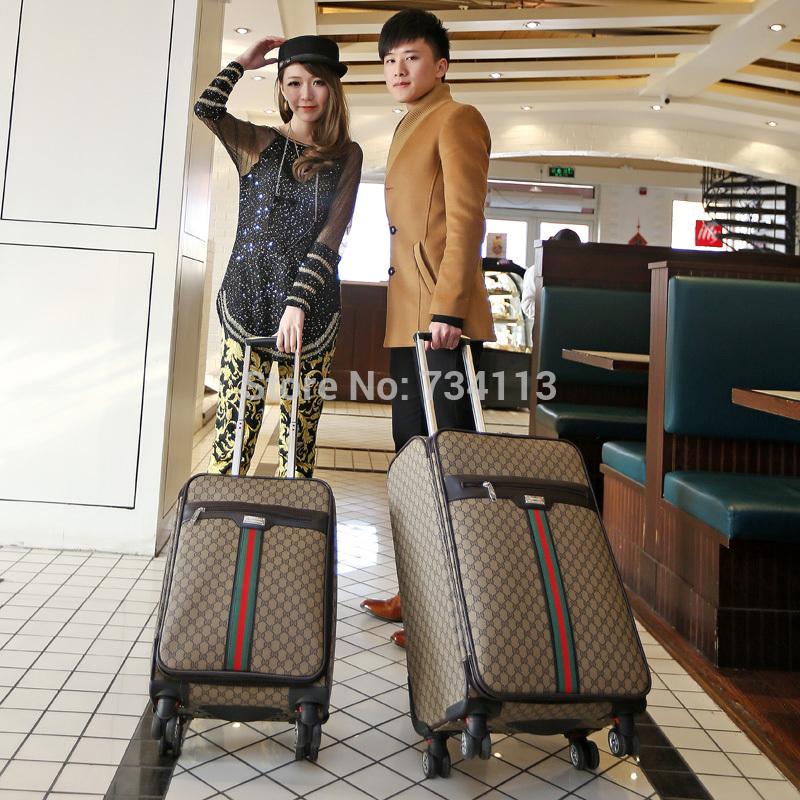 Ensembles de bagages, style europe, sac de marque haut, bagages à roulettes, unisexe, valise, sac de chariot, password lock, pu, 24 pouces., brun, fermeture à glissière, spinner
