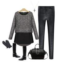 2014 New Stylish Women's woolen + chiffon Long Sleeve False Two Piece Spring skirts Top Blouse SV000776  B18