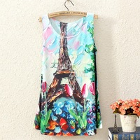 Fashion Vintage Spring Summer Womens Sleeveless Graphic Printed Digital Printing T Shirt Tee Blouse Vest Tank Tops B9 SV001318