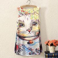 New Crop Top Summer Womens Sleeveless Graphic Printed Digital Printing T Shirt Tee Blouse Vest Tank Tops B9 SV001318