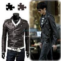 New Slim Sexy Top Designed Mens Jacket Coat Korean catwalks shall Slim leather jacket PU high quality jacket #010 9192