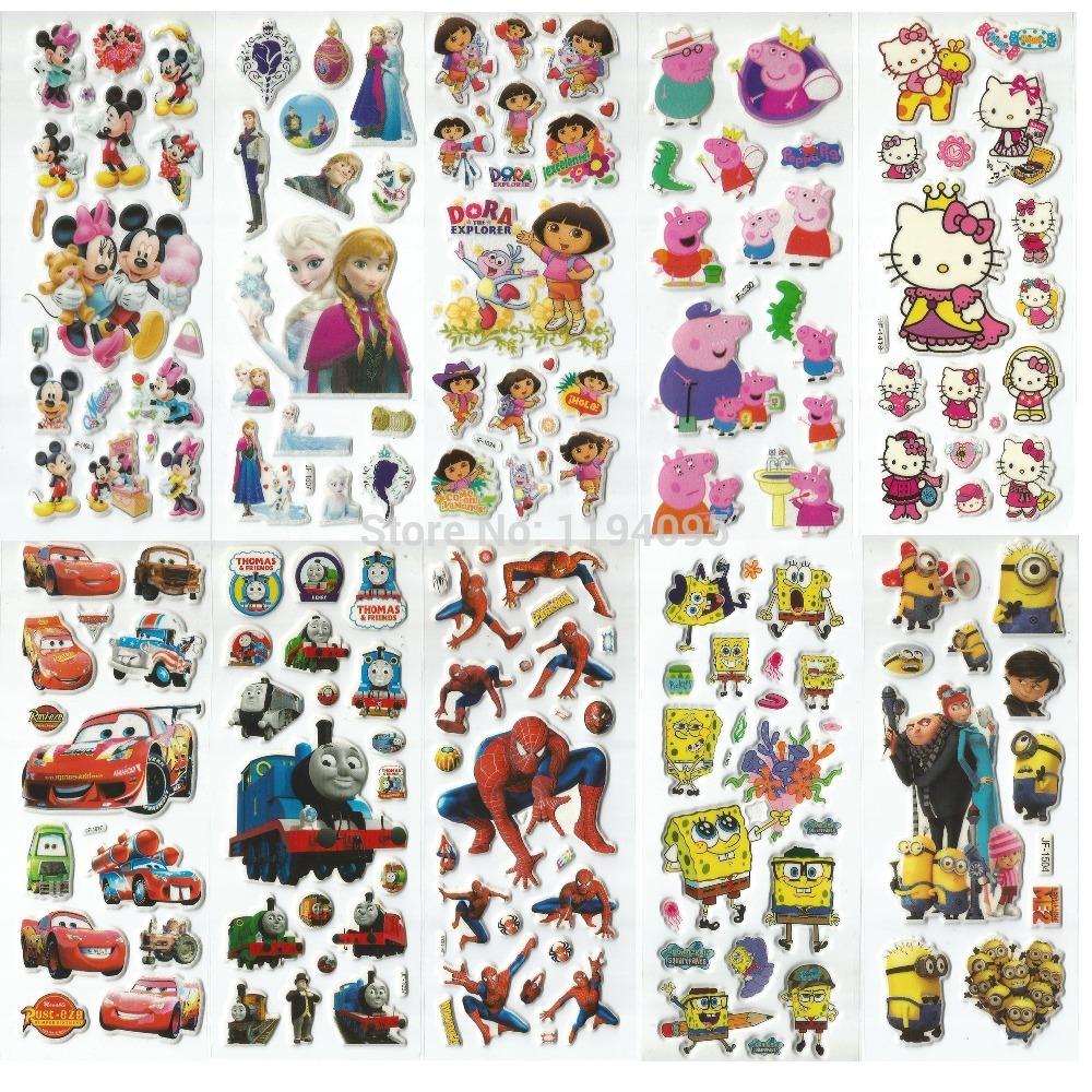 60pcs 3D cartoon puffy stickers kids classic toys spiderman hello kitty pokemon minion minnie mickey winx club sofia elsa thomas(China (Mainland))