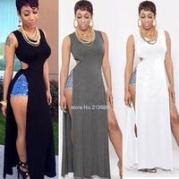 Women Fashion Evening party Casual Long Dresses Bodycon Split Black brief Dress vestidos de fiesta Gowns Sundress B16 SV004343
