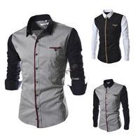 Perfect New Men's Mens Patchwork Casual Long Sleeve Thin Shirt cotton Slim dress shirts men clothes B16 SV006508