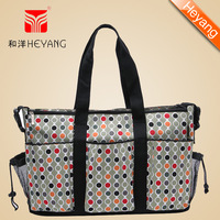 Free shipping  2013 New Arrival Wholesale Fashion hot bags 300D dot  Khaki quilted designer baby  nappy bag for mummy HY-1107