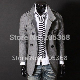 Hot Selling Casual Men's Jacket Men's Double Platoon To Buckle LiLing Badges Dust Coat Male Coat Color:Black,Gray Size:M-XXL
