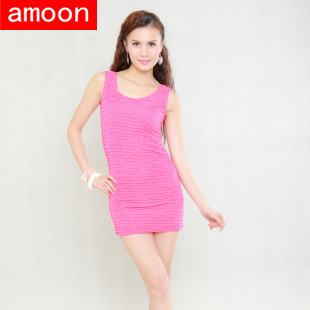 Amoon /Women Spring Summer Cotton Casual Sexy Solid Wrinkles Tank Dress /Special Price /Free Size /6 Colors /Sleeveless