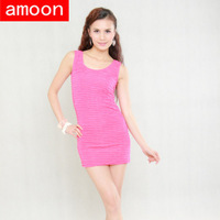 Amoon / Women Spring Summer Cotton Casual Sexy Solid Wrinkles Tank Dress /Special Price /Free Size Shipping/7 Colors /Sleeveless