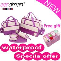 5pcs Hot-Sales Microfiber Pink,Khaki,Coffee Tote bag Messenger mother baby bag+changing pad+bottle holder+lunch bag+baby bag
