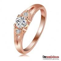 LZESHINE Brand Engagement Ring Round SWA Element Austrian Crystal Ring Rose Gold/Platinum Plated Wedding Ring Ri-HQ1090
