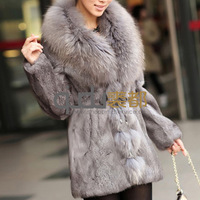 Autumn Winter Women's Genuine Natural Rabbit Fur Coat Raccoon Fur Collar Lady Slim Long Outerwear Plus Size QD11614