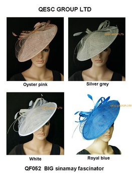 BIG Sinamay Fascinator/Sinamay Hat with diameter 35cm,Feather,sequin and Veiling Trim.4 colors