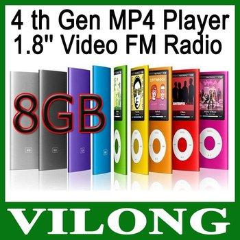 New 2014 4th Gen MP4 Player + 8GB + 1.8'' Video Radio FM MP3 MP4 &
