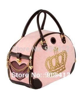 Fashion Velvet Crystal Crown Pet Travel Bag   Dog Carrier  Hot Selling 46L*17W*27H