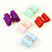 Armi store Handmade Accessories For Pets Cute Little Crystal Ribbon Bow #a21011 Pet Bow Grooming Dogs.