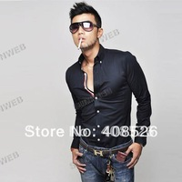 2014 Fashion New Men's Shirt Dress Shirts Long sleeve Casual Slim Fit Black Blue Wine Red US 4Size dropShipping 5208 b015