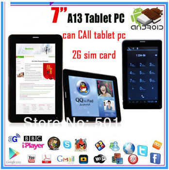 7 inch  2g sim card slot  Phone call Android 4.0 Tablet PC Allwinner A13 8GB WiFi 3G Bluetooth Capacitance Screen