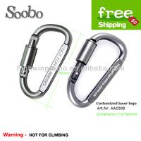 (200pcs/lot)  Wholesale aluminum alloy 8cm Flat D Shaped grey Locking Climbing Carabiner ,Free Shipping !