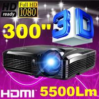 300inch screen Brightest 5500Lumen Business Advertising Education data show 3D Full HD DLP Projector Beamer Projektor Proyector