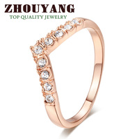Top Quality ZYR011  V Lover Hot Sell Elegant 18K Rose Gold Plated  Wedding Ring  Austrian Crystals Full Sizes Wholesale