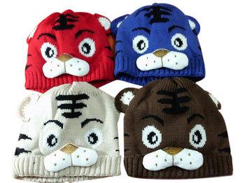 Baby Hat,  boy Cartoon Tiger Hat, Children's Knitted Warm Hat, Girl Crochet Cap Free shipping,  PMM001