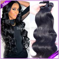 "She hair 6A brazilian virgin hair body wave 3pcs/lot,cheap brazilian body wave natural black hair,8""-30""soft human hair weave"