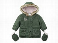 OK autumn winter green children baby boys girl liner with gloves cute jacket coat outwear top age for 3-23M WM0785 freeshipping