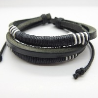 Free Shipping 2015 Multilayer Weave Wrap Hemp&Genuine Wholesale Leather Bracelet vintage Adjustable Size For Men