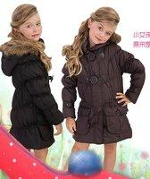 O Freeshipping Winter coffee black Children girl Kids baby hoody hooded detachable long parkas coat jacket Outerwear top WM118