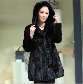 2014  fur coat winter coat women fashion genuine mink fur coat hooded  plus Size  100% real Mink Fur Garment
