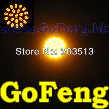 100pcs/lot Car led 1156 BA15S 22 LEDS smd 22SMD 3020 P21W turn signal reverse light WHITE yellow HK post free shipping