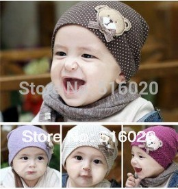 Free Shipping 1 Pcs Fashion Wholesales Winter Warm Cotton Cartoon Bear Infant Toddler Kids Children Baby Hat Cap Beanies