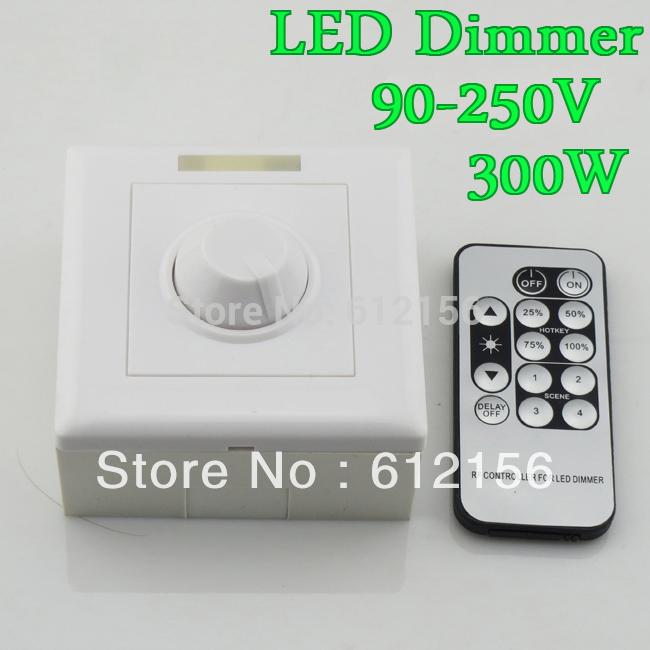 110V 120V 220V 240V 300W 8A IR Knob PWM Triac LED Dimmer Switch For E27 GU10 Dimmable Spot Lights Downlights(China (Mainland))