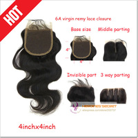 Free shipping cheap peruvian body wave lace closure virgin remy  human hair bleached knots 4x4 high quality guarantee