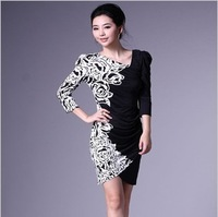 WA23002 Irregular collar dress Spring Autumn summer dress for women 2014 new manufacturers OL casual flower print woemen dress