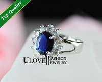 UK Queen Model Titanic Ocean Heart 18K Silver Ring Sparkling Sapphire Blue Crystal 3.7g US size 5.25-8.5 Classic Jewelry